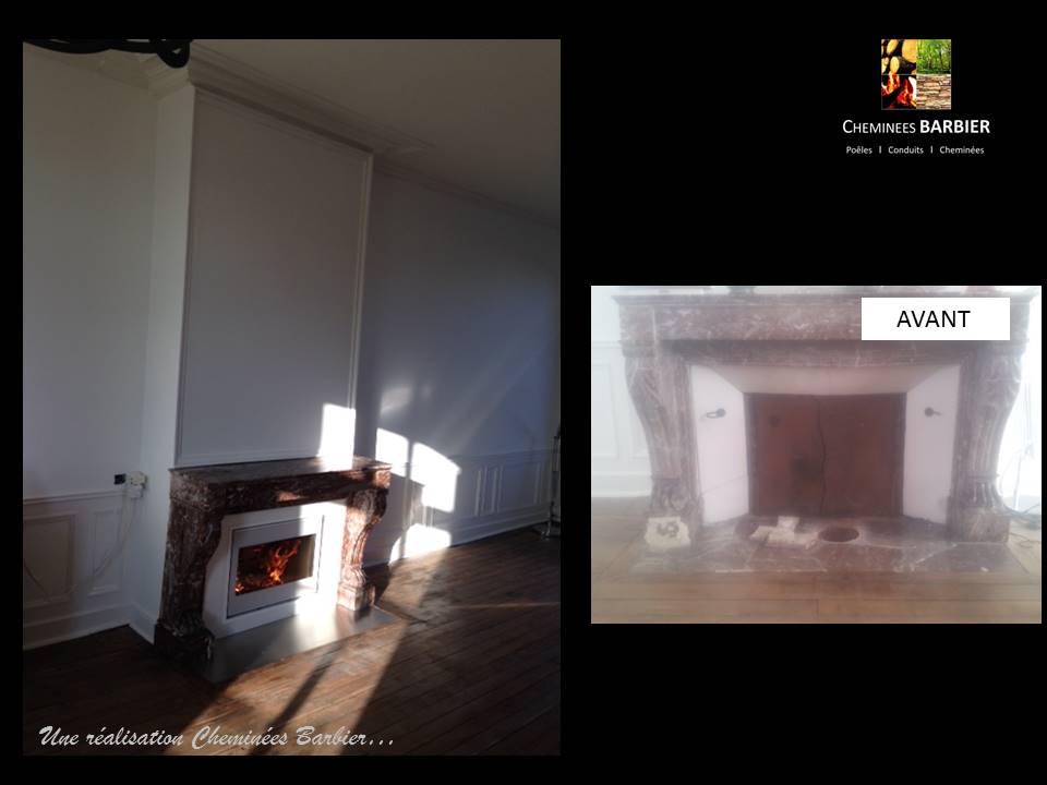 Insert SCAN 1002 Blanc dans cheminée en marbre