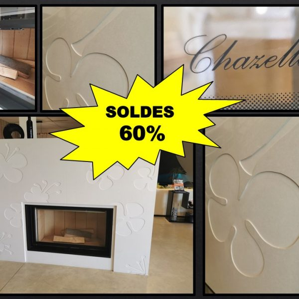 Cheminée en marbre déco blanc polaire avec foyer escamotable CHAZELLES D1200